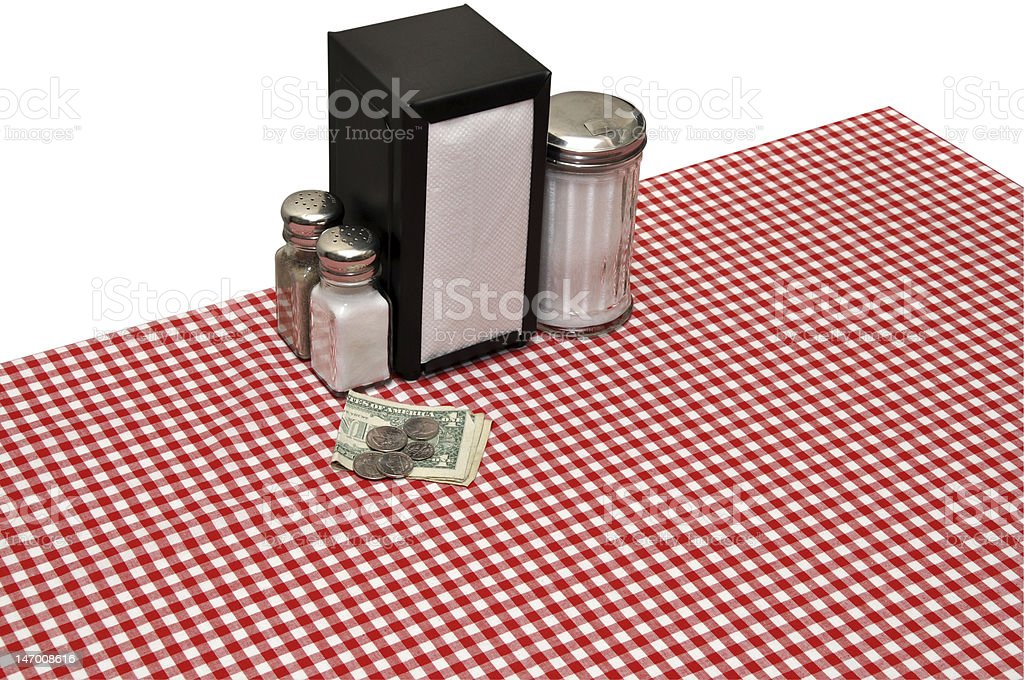 Tip on Table at Diner royalty-free stock photo