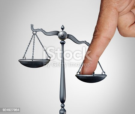 Tip the scales of justice concept as a the finger of a person illegaly influencing the legal system for an unfair advantage with 3D illustration elements.