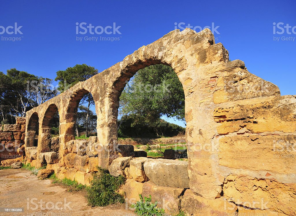 Tipaza, Algeria: Great Christian Basilica - Tipasa Roman ruins royalty-free stock photo