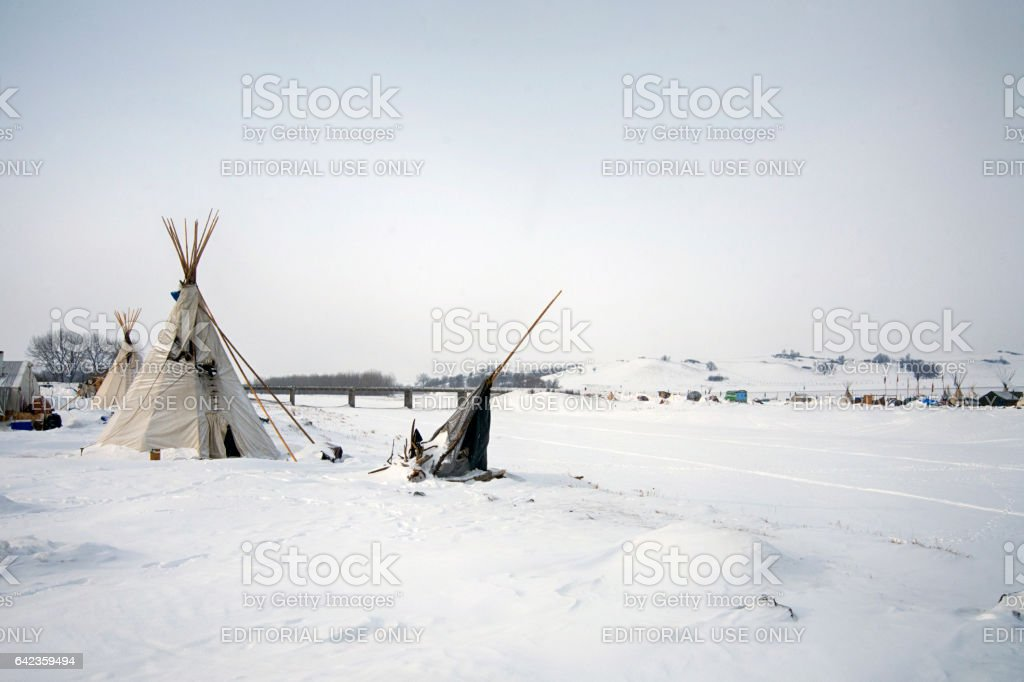 Tipi at the edge of the frozen Cannon Ball River stock photo