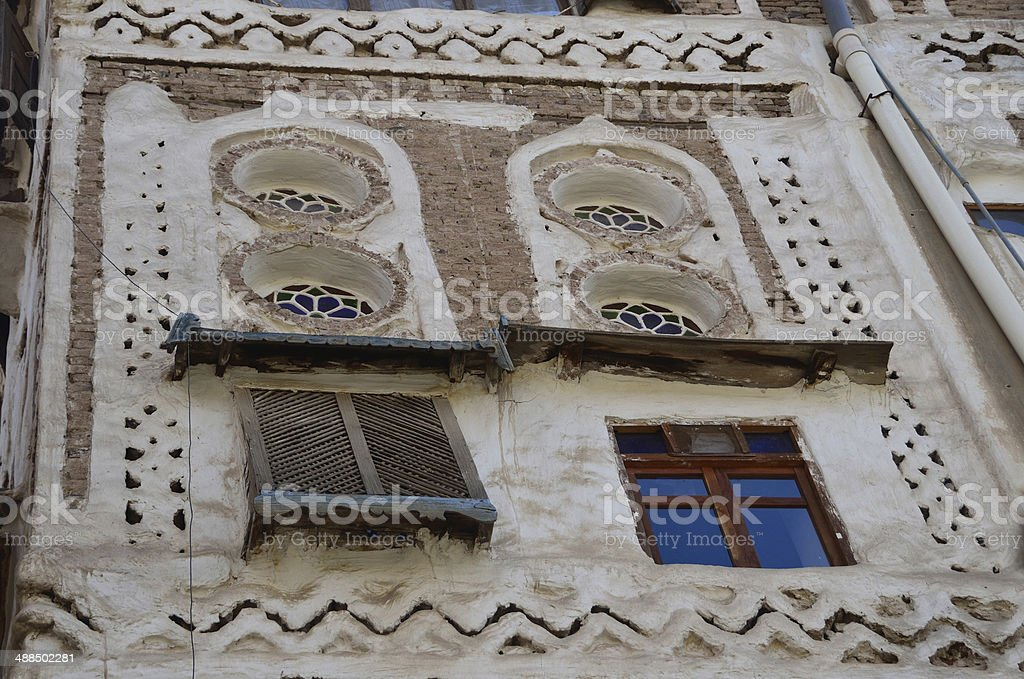 Tipical house in ancient Sana'a, Yemen stock photo