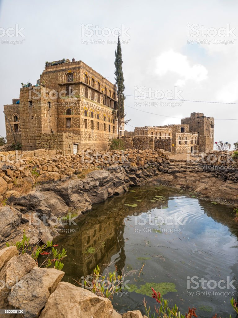 Tipical mountain village in Yemen stock photo