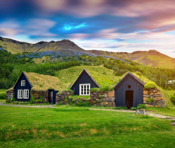Tipical view of Icelandic turf-top  houses. – Foto