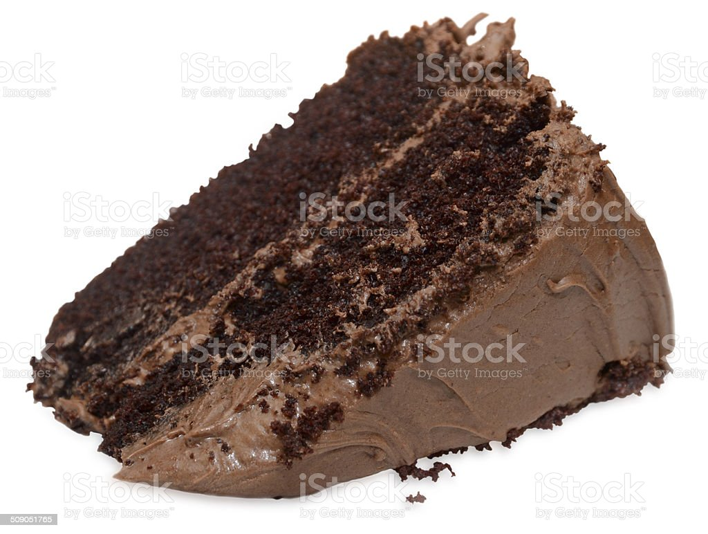 Tipped Slice of Chocolate Cake stock photo