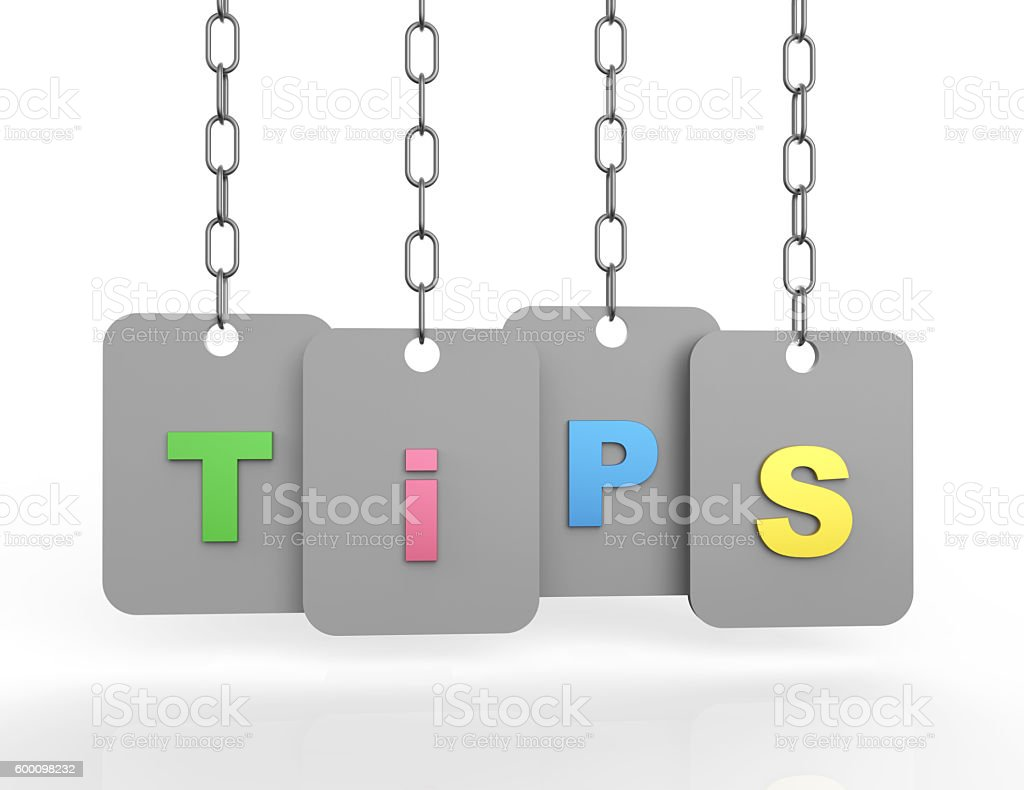 Tips 3d word concept stock photo