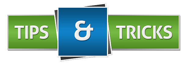 Tips And Tricks Green Blue Horizontal Trips and tricks text written over blue green background. magic trick stock pictures, royalty-free photos & images