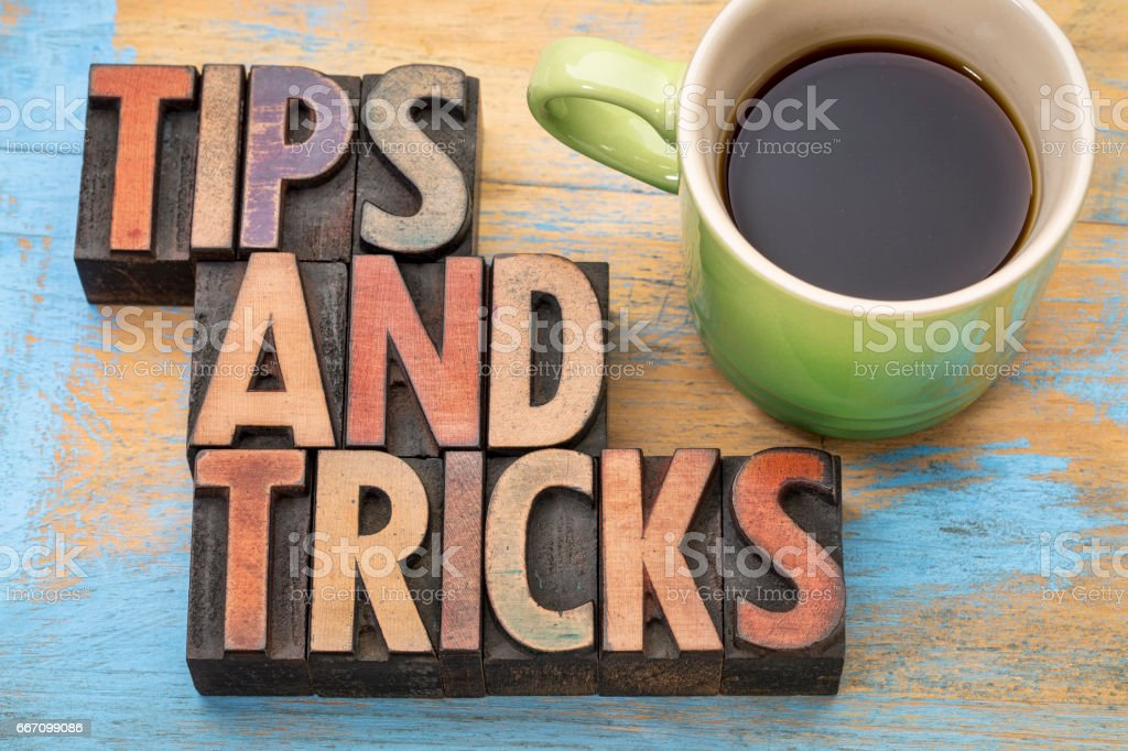 tips and tricks word abstract  in wood type stock photo