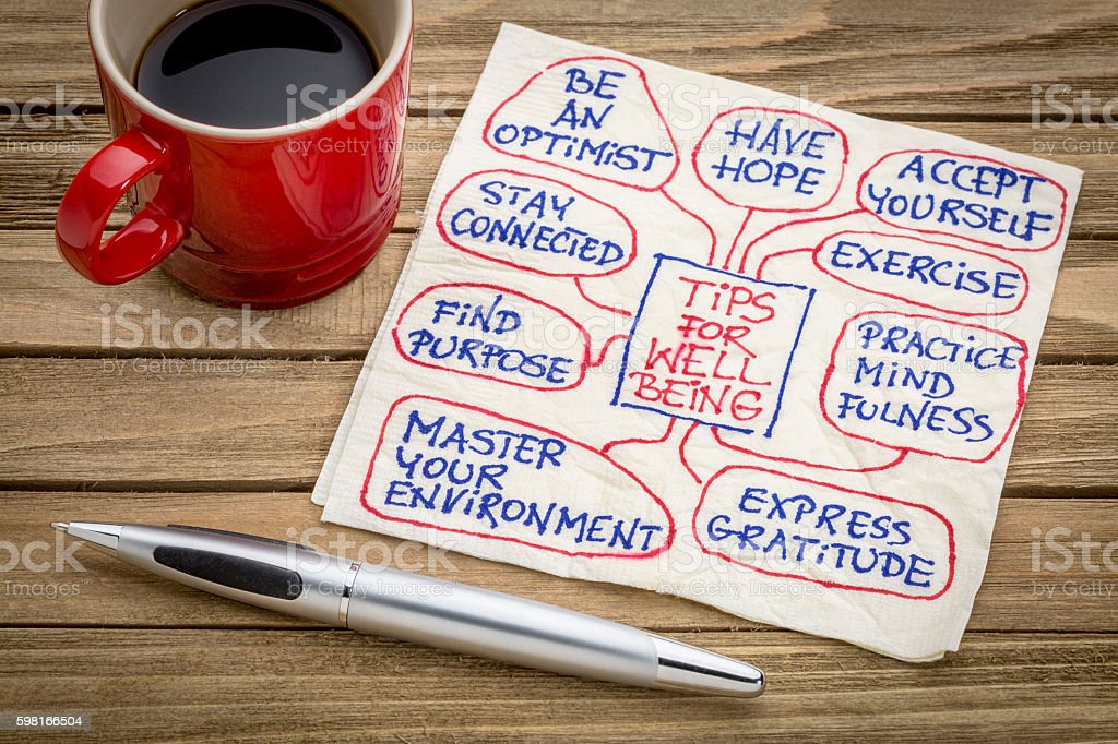 tips for well being on napkin stock photo