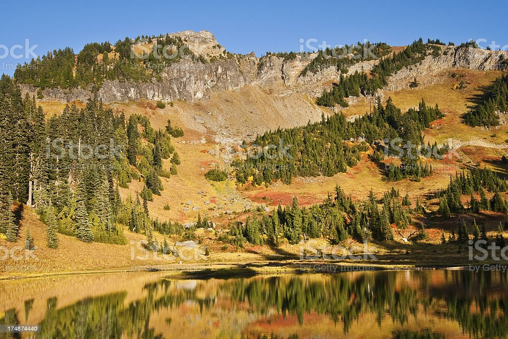 Fall Colors Reflected in Tipsoo Lake stock photo