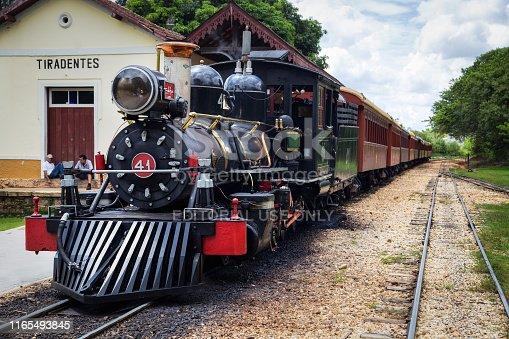 Tiradentes, Minas Gerais, Brazil - July 3, 2015: the vintage train that travels from Tiradentes to São João del Rei, at the Tiradentes Station