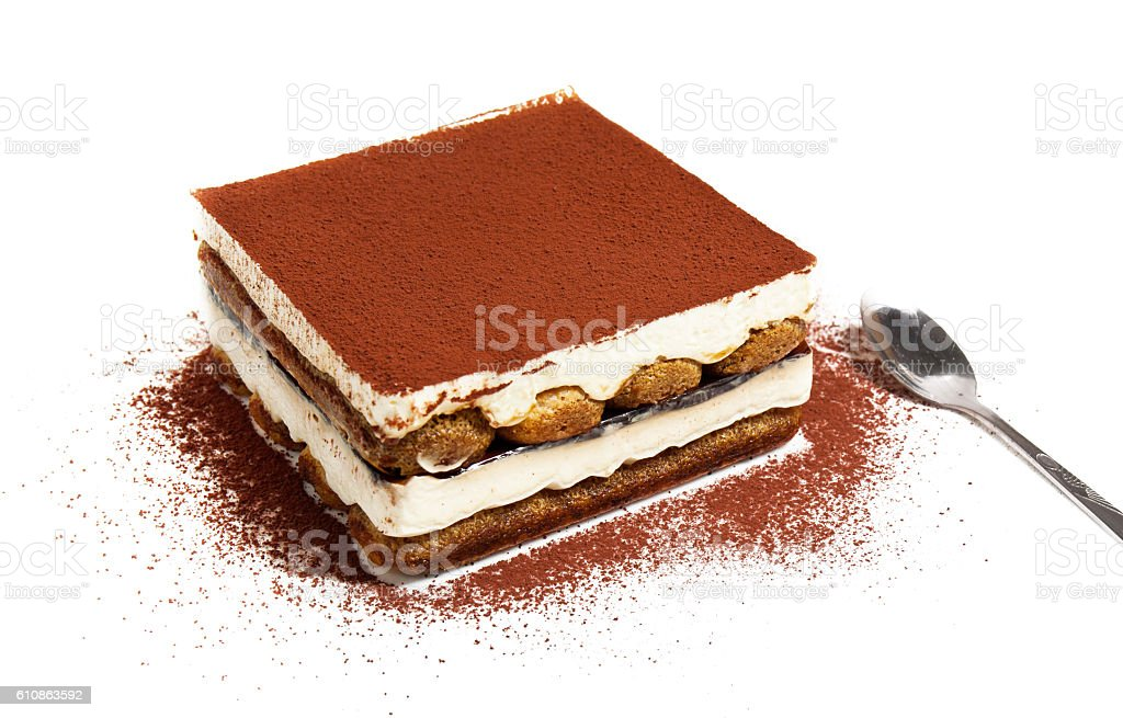 tiramisu cake and spoon, white background tiramisu cake and spoon, white background Baked Stock Photo