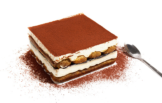 Tiramisu Cake And Spoon White Background Stock Photo - Download Image Now
