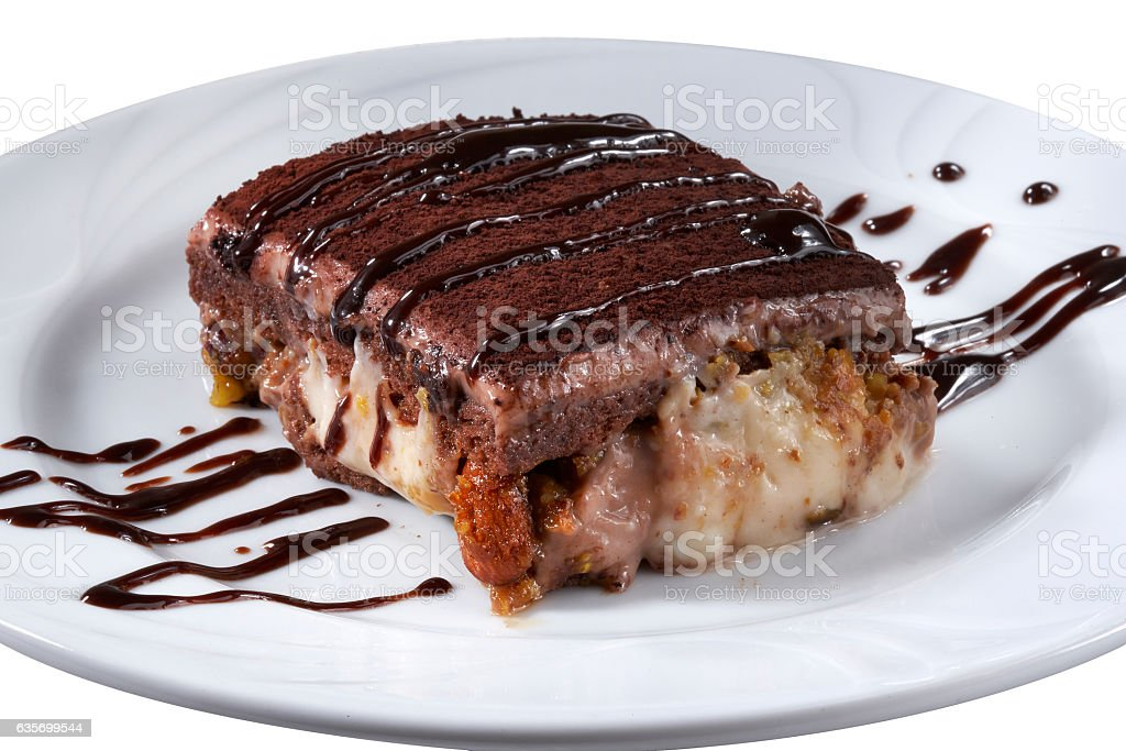 Tiramisu cake on a white plate.Dessert. royalty-free stock photo