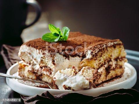 istock Tiramisu cake with mint 1248489319