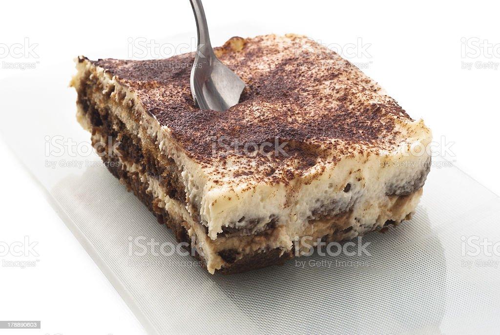 tiramisu dessert isolated on white stock photo