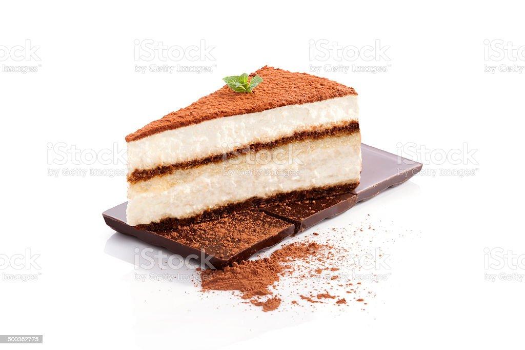 Tiramisu dessert on chocolate bar isolated on white background....