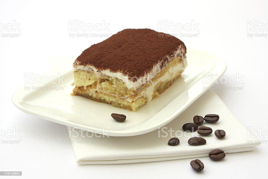 Tiramisu dessert served on a plate royalty-free stock photo