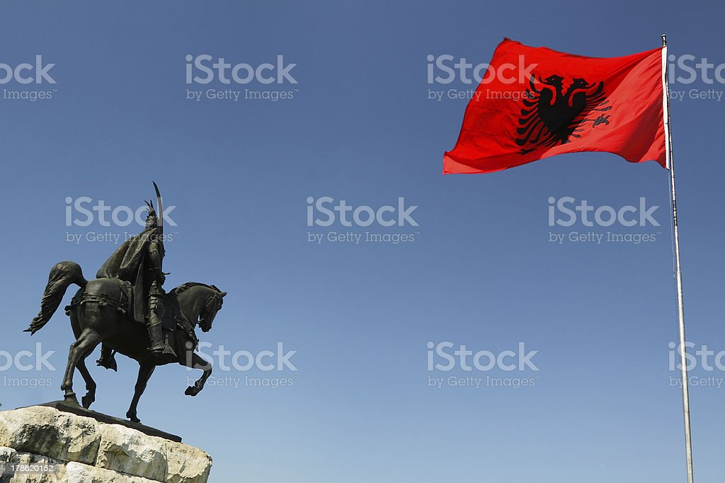 Tirana, Albania, Skanderbeg Monument and National Flag stock photo