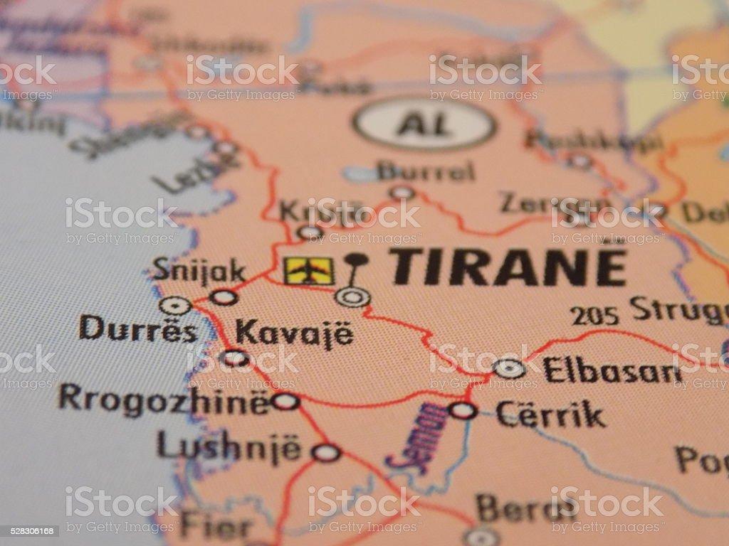Tirana city shown on map stock photo