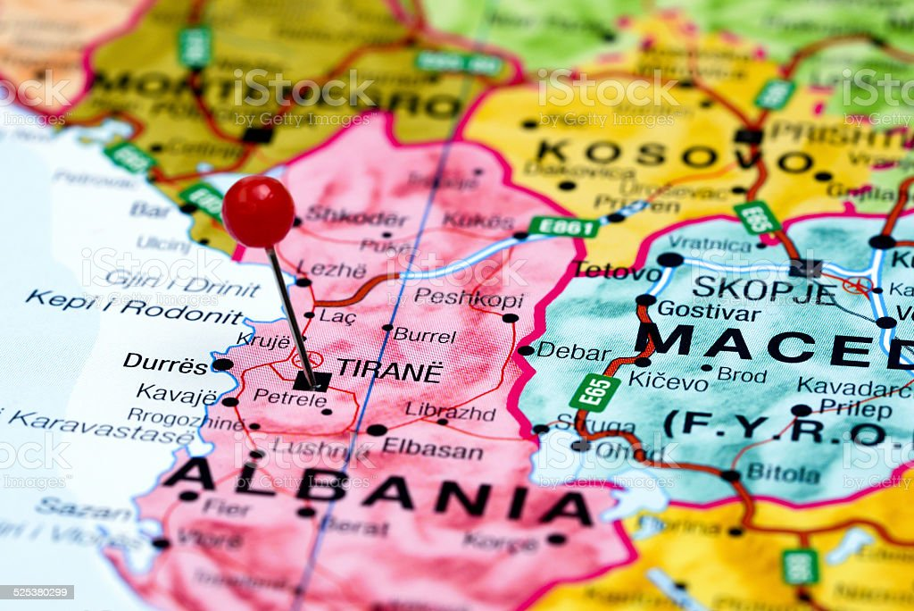 Tirane pinned on a map of europe stock photo