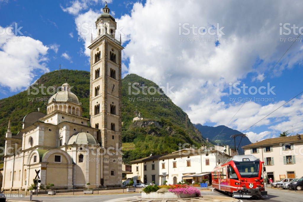 Tirano Valtellina Bernina Express Train at Border of Italy Switzerland royalty-free stock photo