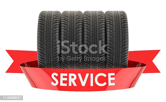 istock Tire and Auto Services concept. 3D rendering isolated on white background 1145069221