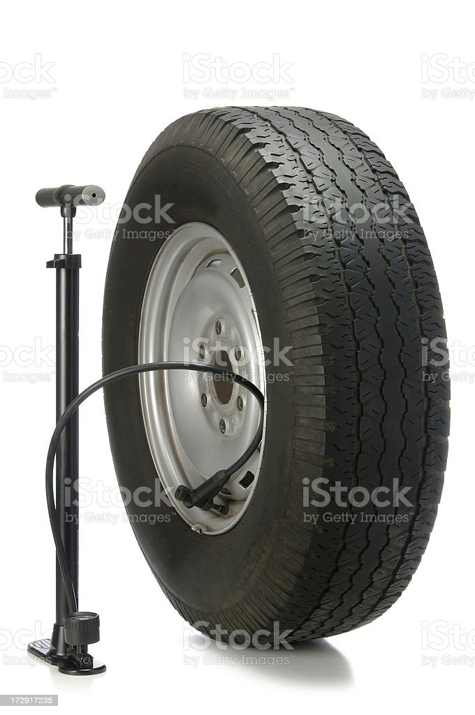 Tire and Pump royalty-free stock photo
