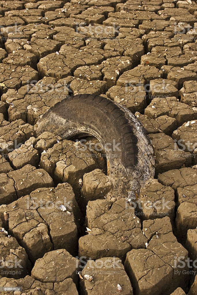 Tire caught in mud royalty-free stock photo