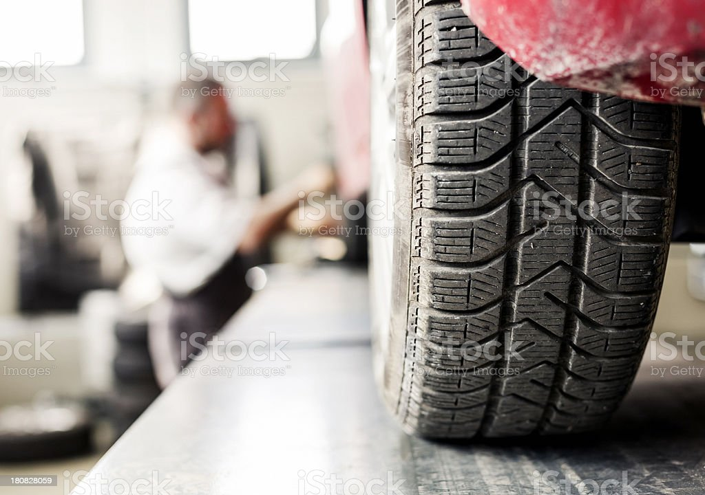Tire changing (winter-summer) stock photo