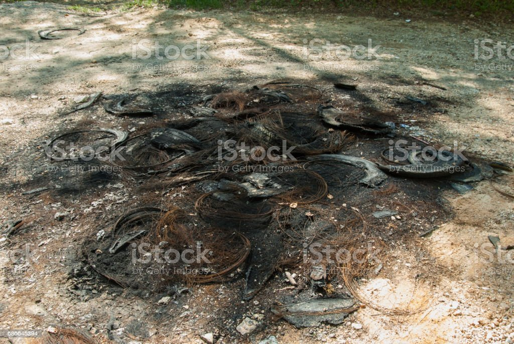 Tire Fire Remains in Alabama stock photo