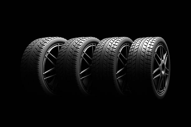 tire isolated on black background - wheel black background bildbanksfoton och bilder