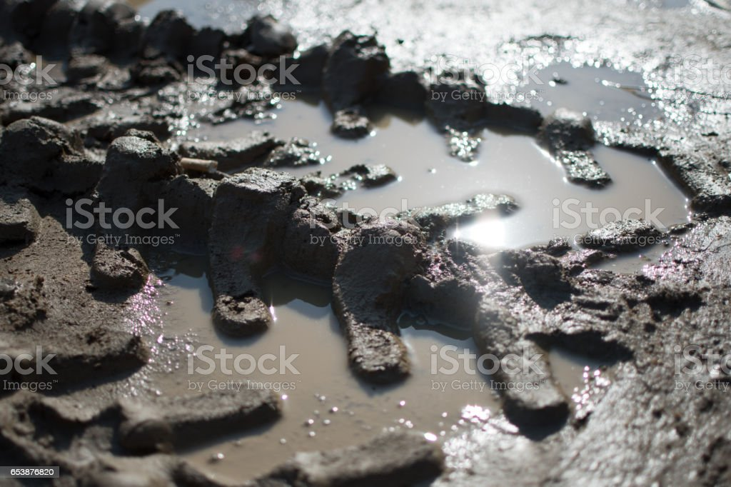 Tire marks on mud stock photo
