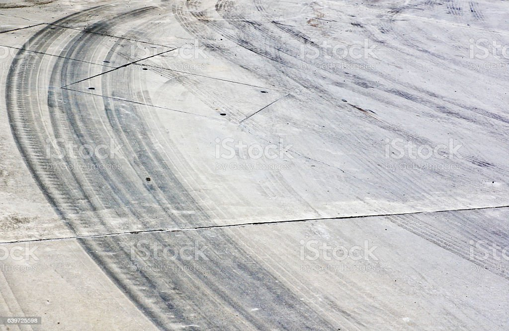 Tire marks on the road stock photo