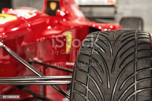 istock Tire of a ferrari Formula 1 racing car 931966606