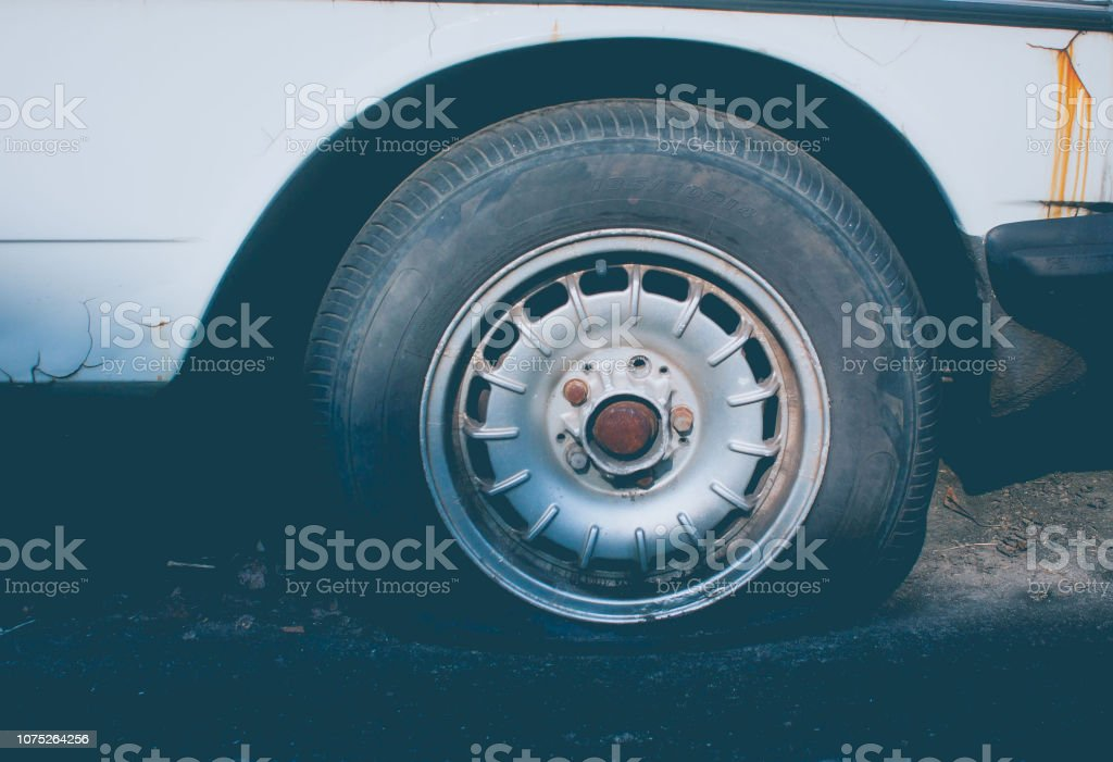 Tire old flat filter film. stock photo