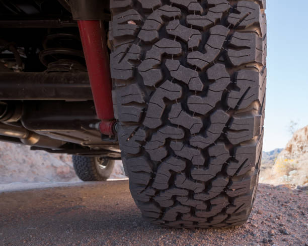 Tire on a 4x4 off road vehicle stock photo