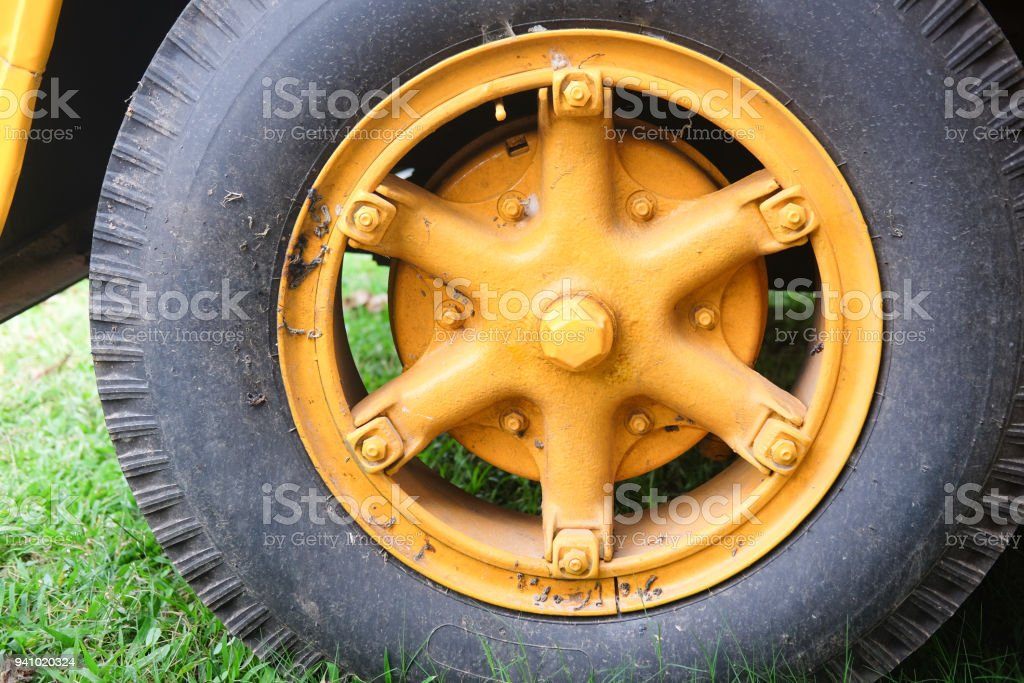 Tire on a school bus, close up stock photo