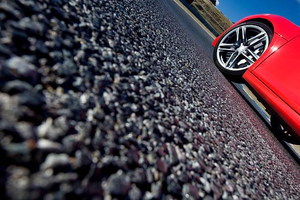 Tire on the asphalt stock photo