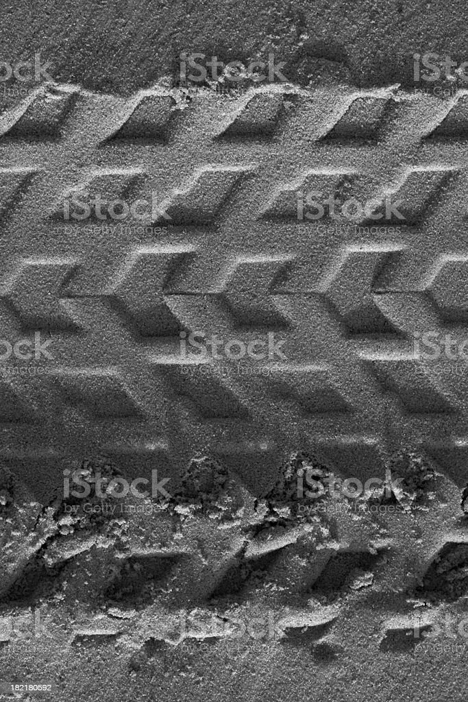 tire print in the sand (black and white) royalty-free stock photo