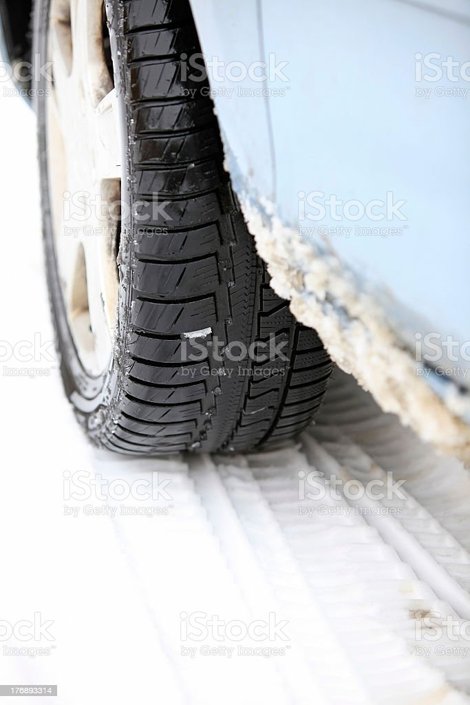 tire prints in the snow royalty-free stock photo