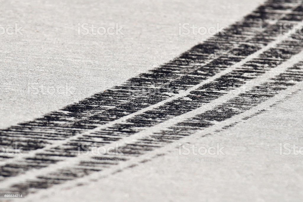 Tire prints stock photo