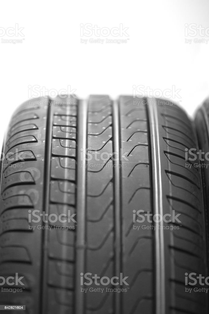 Tire profil with a white background close up stock photo
