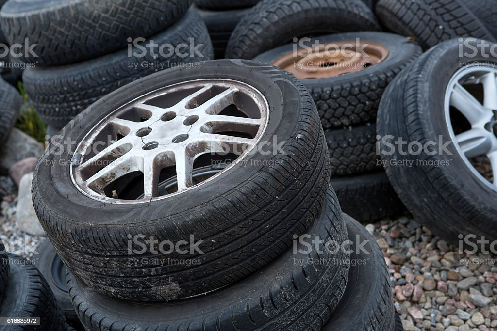 Tire recycling stock photo