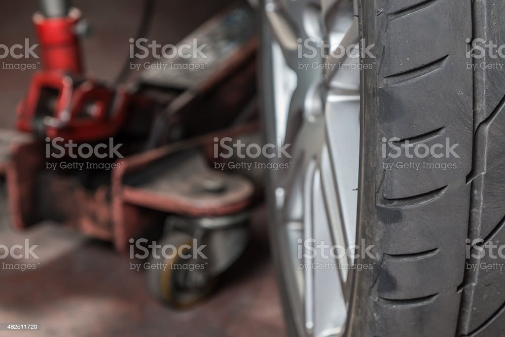 tire repairer stock photo