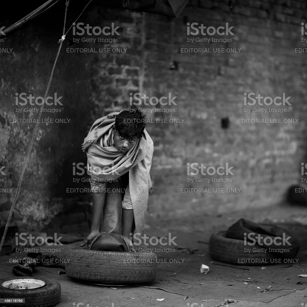Tire Service in India royalty-free stock photo