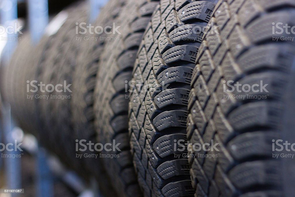 Tire stack background stock photo