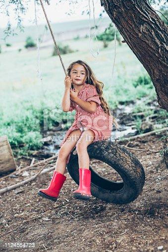 Cute Little girl swinging on a tire