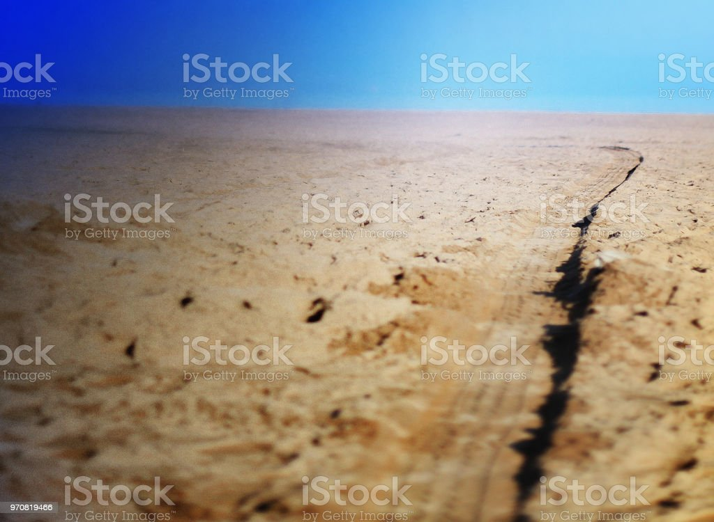 tire track in sand - Royalty-free Beach Stock Photo