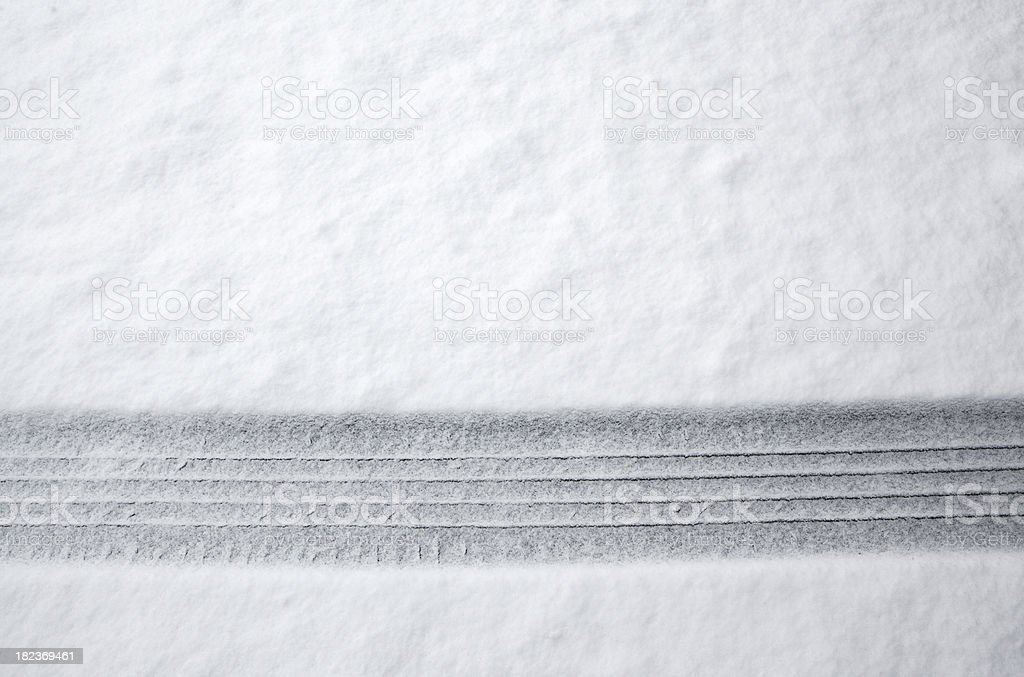 Tire Track in Snow stock photo