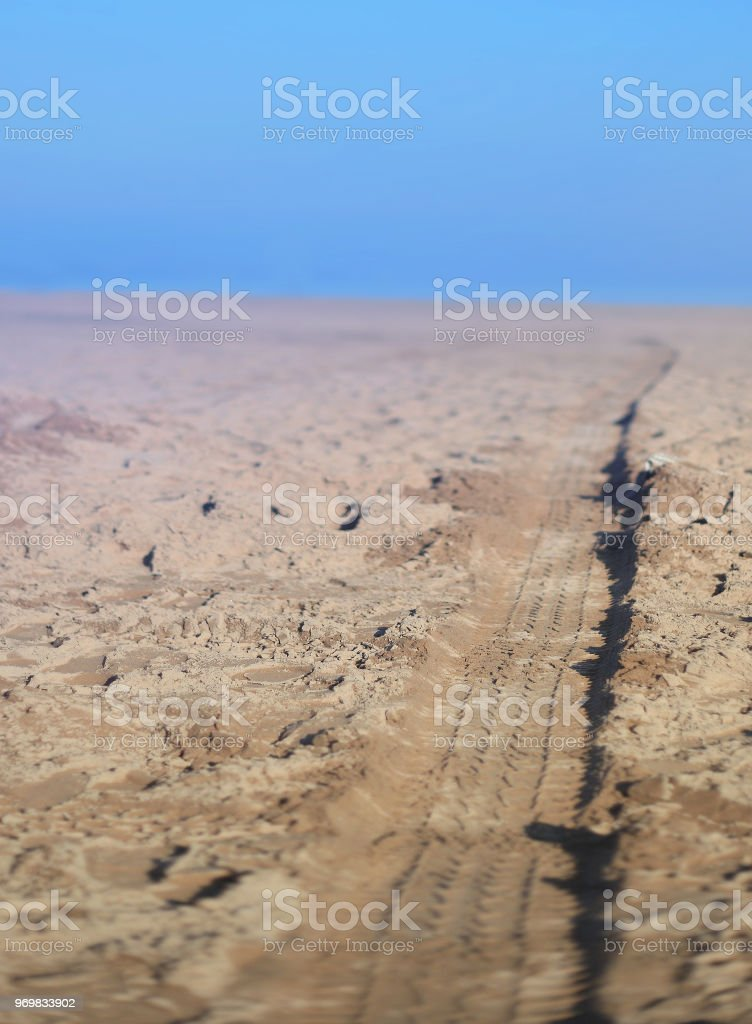 tire track on beach - Royalty-free Beach Stock Photo